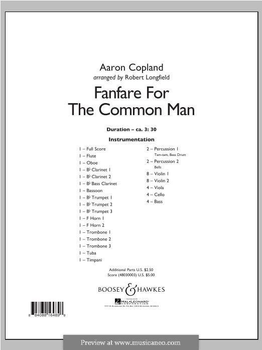 Fanfare for the Common Man: Full Score by Aaron Copland