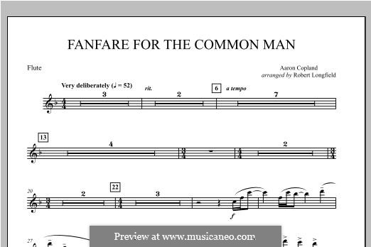 Fanfare for the Common Man: Flute part by Aaron Copland