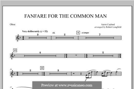 Fanfare for the Common Man: Oboe part by Aaron Copland