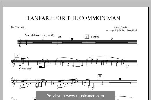 Fanfare for the Common Man: Bb Clarinet 1 part by Aaron Copland