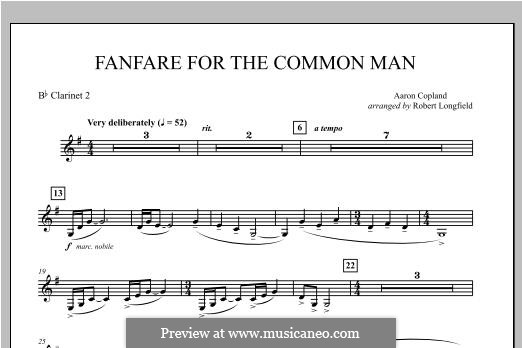 Fanfare for the Common Man: Bb Clarinet 2 part by Aaron Copland