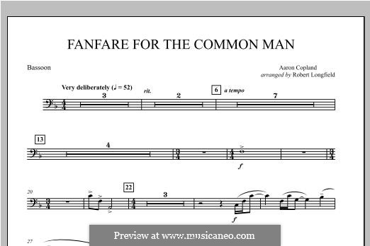 Fanfare for the Common Man: Bassoon part by Aaron Copland
