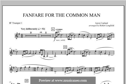 Fanfare for the Common Man: Bb Trumpet 1 part by Aaron Copland