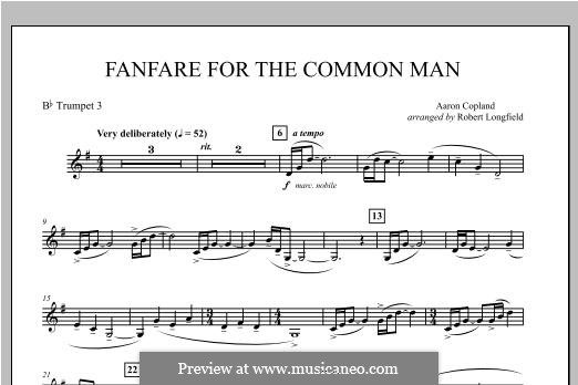 Fanfare for the Common Man: Bb Trumpet 3 part by Aaron Copland