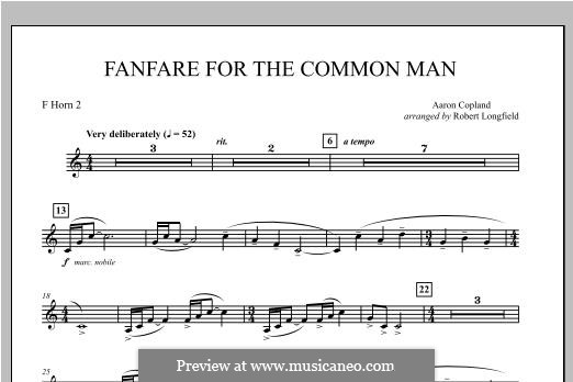 Fanfare for the Common Man: F Horn 2 part by Aaron Copland