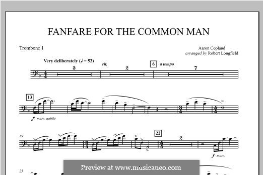 Fanfare for the Common Man: Trombone 1 part by Aaron Copland