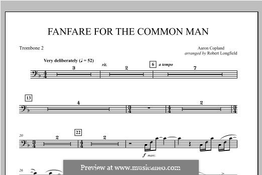 Fanfare for the Common Man: Trombone 2 part by Aaron Copland