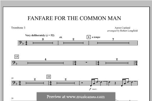 Fanfare for the Common Man: Trombone 3 part by Aaron Copland