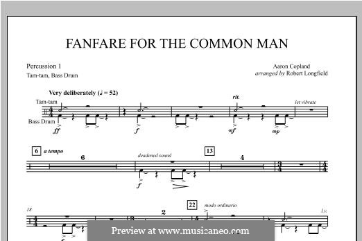 Fanfare for the Common Man: Percussion 1 part by Aaron Copland