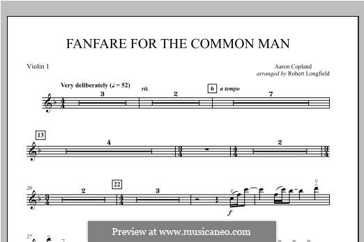 Fanfare for the Common Man: Violin 1 part by Aaron Copland