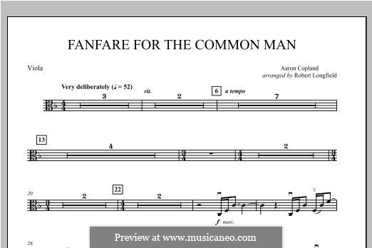 Fanfare for the Common Man: Viola part by Aaron Copland