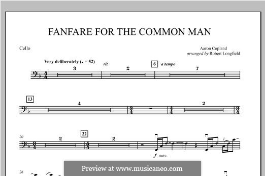 Fanfare for the Common Man: Cello part by Aaron Copland