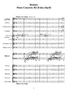 Concerto for Piano and Orchestra No.2 in B Flat Major, Op.83: Full score by Johannes Brahms