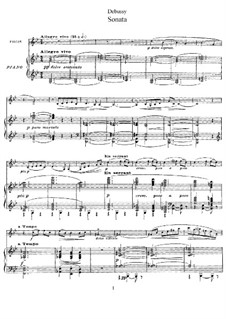 Sonata for Violin and Piano in G Minor, L.140: Score, solo part by Claude Debussy