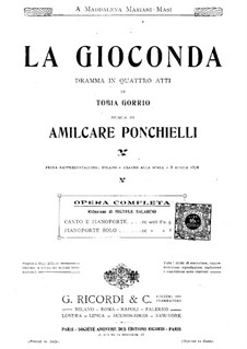 Complete set: Arrangement for soloists, choir and piano by Amilcare Ponchielli