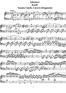 Sonata for Piano No.11 in F Minor (Unfinished), D.625: For a single performer by Franz Schubert