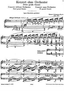 Sonata No.3 in F Minor (Concerto without Orchestra), Op.14: For piano by Robert Schumann