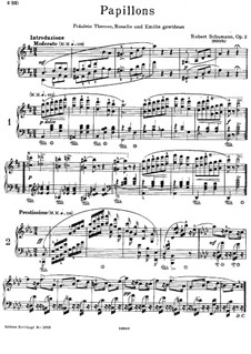 Papillons, Op.2: For piano by Robert Schumann