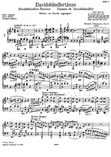 Dances of the League of David, Op.6: For piano (first edition) by Robert Schumann