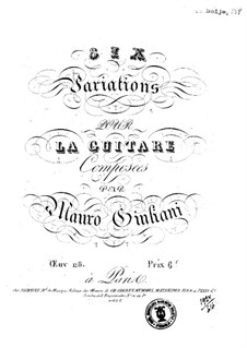 Six Variations for Guitar, Op.118: Six Variations for Guitar by Mauro Giuliani