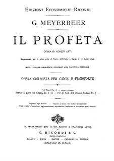 Le prophète (The Prophet): Piano-vocal score by Giacomo Meyerbeer