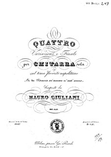 Four Variations for Guitar, Op.142: Four Variations for Guitar by Mauro Giuliani