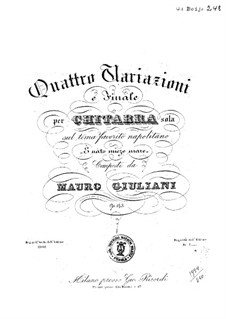 Four Variations for Guitar, Op.143: Four Variations for Guitar by Mauro Giuliani