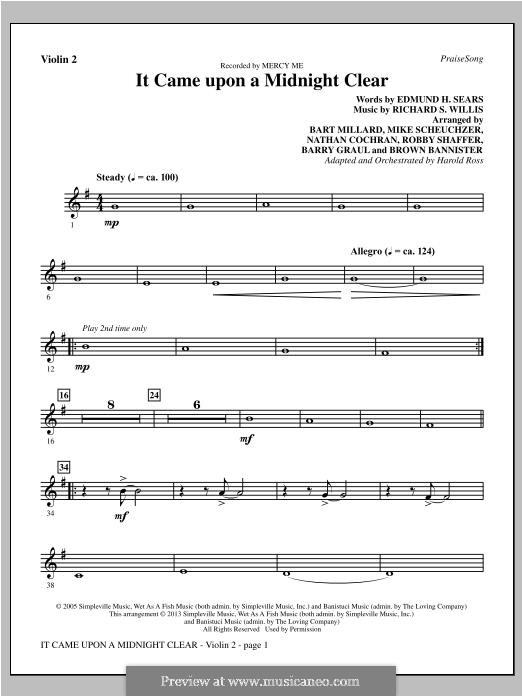 It Came upon the Midnight Clear: Violin 2 part by Richard Storrs Willis