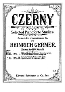Selected Etudes for Piano: Volume I by Carl Czerny