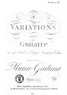 Eight Variations for Guitar, Op.72: Eight Variations for Guitar by Mauro Giuliani