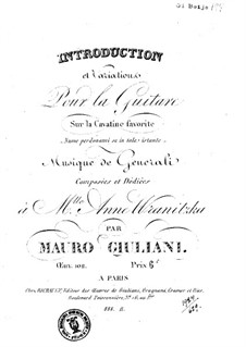 Introduction and Variations on Cavatina 'Nume perdonami se in tale istante' for Guitar, Op.102: Introduction and Variations on Cavatina 'Nume perdonami se in tale istante' by Mauro Giuliani