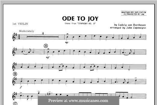 Ode To Joy (Chamber Arrangements): For orchestra – violin 1 part by Ludwig van Beethoven