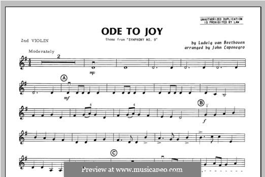 Ode To Joy (Chamber Arrangements): For orchestra – violin 2 part by Ludwig van Beethoven
