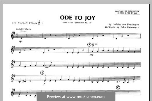 Ode To Joy (Chamber Arrangements): For orchestra – violin 3 part by Ludwig van Beethoven