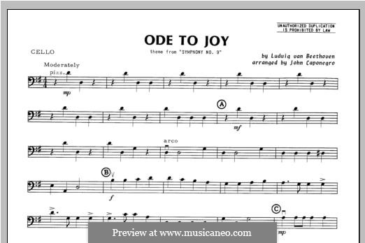 Ode To Joy (Chamber Arrangements): For orchestra – cello part by Ludwig van Beethoven