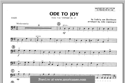 Ode To Joy (Chamber Arrangements): For orchestra – bass part by Ludwig van Beethoven