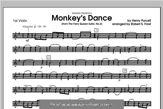 The Fairy Queen, Z.629: Monkey's Dance, for strings – Violin 1 part by Henry Purcell