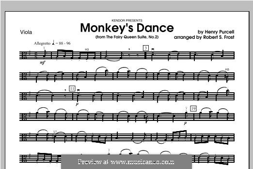 The Fairy Queen, Z.629: Monkey's Dance, for strings – Viola part by Henry Purcell