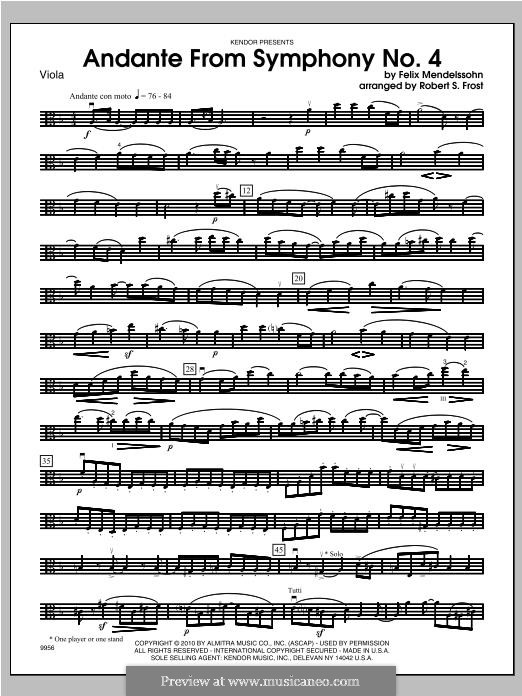 Symphony No.4 in A Major 'Italian', Op.90: Andante, for strings - viola part by Felix Mendelssohn-Bartholdy