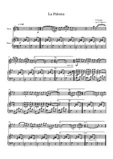 10 Easy Classical Pieces For Flute & Piano Vol.5: La Paloma by Wolfgang Amadeus Mozart, Franz Schubert, Antonín Dvořák, Georges Bizet, Georg Friedrich Händel, Giuseppe Verdi, Pyotr Tchaikovsky, Émile Waldteufel, Adolphe Adam, Sebastián Yradier