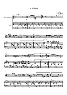 10 Easy Classical Pieces For Alto Saxophone & Piano Vol.5: La Paloma by Wolfgang Amadeus Mozart, Franz Schubert, Antonín Dvořák, Georges Bizet, Georg Friedrich Händel, Giuseppe Verdi, Pyotr Tchaikovsky, Émile Waldteufel, Adolphe Adam, Sebastián Yradier