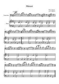 10 Easy Classical Pieces For Trombone & Piano Vol.5: Minuet (In F Major) by Wolfgang Amadeus Mozart, Franz Schubert, Antonín Dvořák, Georges Bizet, Georg Friedrich Händel, Giuseppe Verdi, Pyotr Tchaikovsky, Émile Waldteufel, Adolphe Adam, Sebastián Yradier