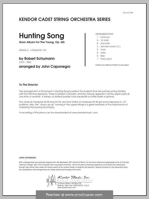 No.7 Jägerliedchen (Hunting Song): For strings – Full Score by Robert Schumann