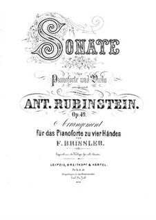 Sonata for Viola (or Cello) and Piano in F Minor, Op.49: Version for piano four hands by Anton Rubinstein
