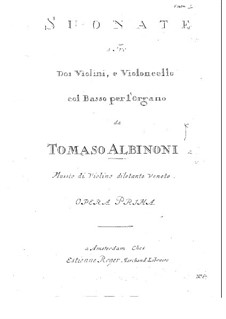 Twelve Trio Sonatas for Two Violins and Basso Continuo, Op.1: Violin I part by Tomaso Albinoni