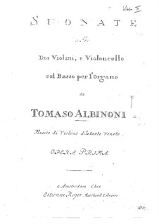 Twelve Trio Sonatas for Two Violins and Basso Continuo, Op.1: Violin II part by Tomaso Albinoni