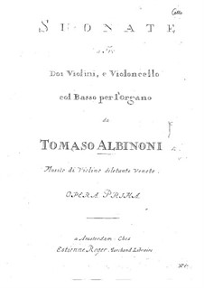 Twelve Trio Sonatas for Two Violins and Basso Continuo, Op.1: Cello part by Tomaso Albinoni