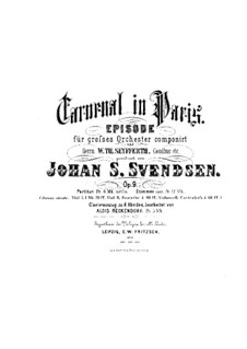 Carnival in Paris, Op.9: For piano four hands by Johan Svendsen