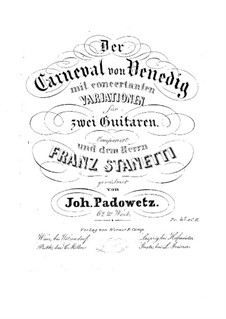 Concert Variations on a Theme 'Carnaval of Venice' for Two Guitars, Op.62: Parts by Ivan Padovec