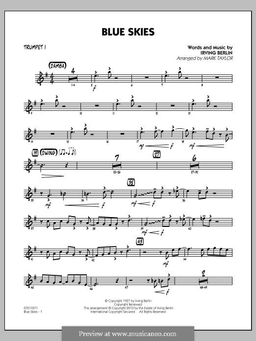 Blue Skies (arr. Mark Taylor): Trumpet 1 part by Irving Berlin